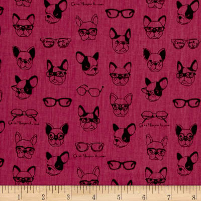 Kokka Trefle Soft Animals French Bull Dogs Double Gauze Fuchsia