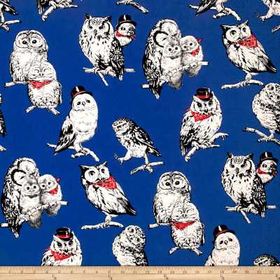 Cosmo Country House Owls Printed Canvas Royal