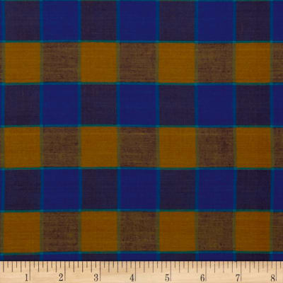 Kaffe Fasset Artisan Yarn Dyed Wovens Checkerboard Plaid Ikat Blue