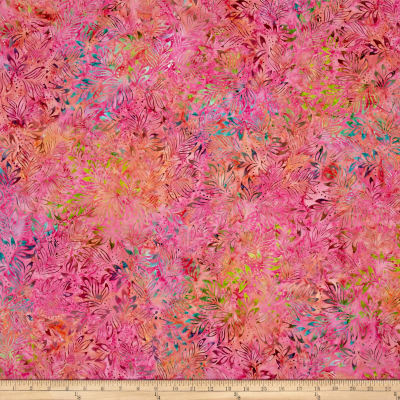 Benartex Balis Batik Color Pop Lilly Leaves Pink Multi