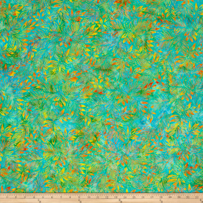 Benartex Balis Batik Color Pop Lilly Leaves Peacock/Flame