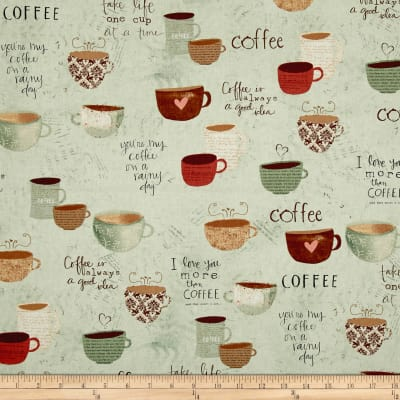 But First, Coffee! Large Allover Teal