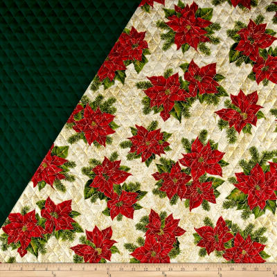 Holiday Editions Double Sided Quilted Large Pointsetta Ecru