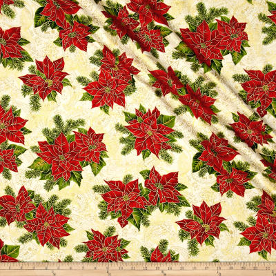 Holiday Editions Poinsettia Ecru