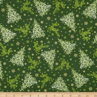 Holiday Editions Tonal Tree & Reindeer Green Metallic
