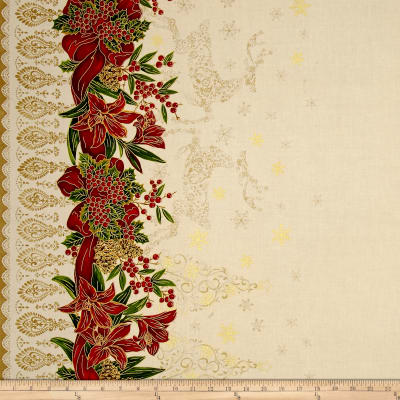 "Holiday Editions 56"" Wide Double Border Ribbons & Reindeers Ecru Metallic"