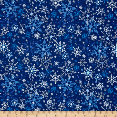 Season's Greetings Snowflakes Navy Metallic