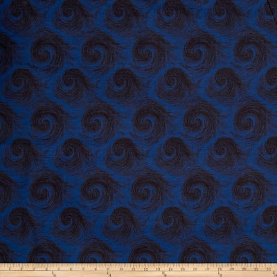 "Breezy 108"" Wide Back Circular Print Dark Navy On Navy"