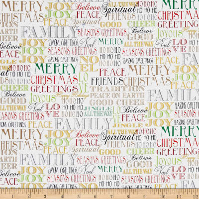 Season's Greetings Words White Metallic