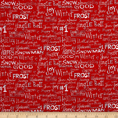 Snowman Christmas Words Red