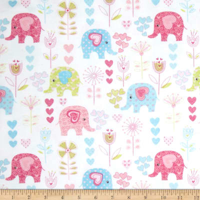 Comfy  Flannel Elephants & Hearts White