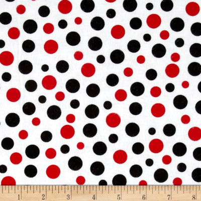 Comfy  Flannel Dots Red/Blk/Wht