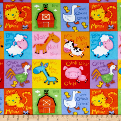 Comfy  Flannel Farm Blocks Multi