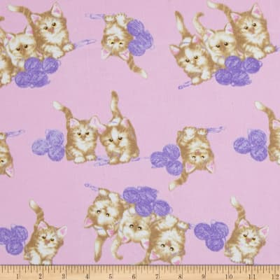 Comfy  Flannel Cats And Yarn Pink