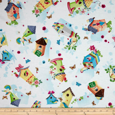 QT Fabrics Blessed Tossed Birdhouses White