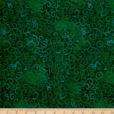 "QT Fabrics 108"" Wide Quilt Back Ombre Scroll Forest"