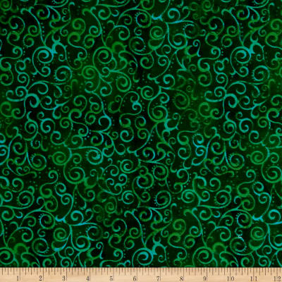 "QT Fabrics 108"" Wide Quilt Back Ombre Scroll Kelly"