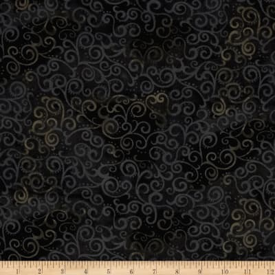 """Quilting Treasures 108"""" Wide Quilt Back Ombre Scroll Black"""