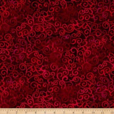 "QT Fabrics 108"" Wide Quilt Back Ombre Scroll Ruby"