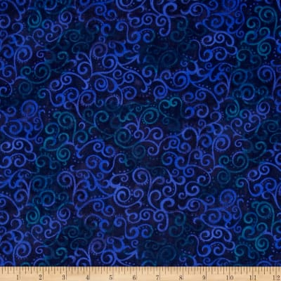 "QT Fabrics 108"" Wide Quilt Back Ombre Scroll Navy"