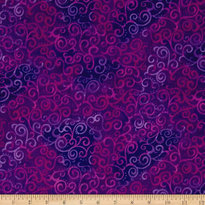 "QT Fabrics 108"" Wide Quilt Back Ombre Scroll Grape"
