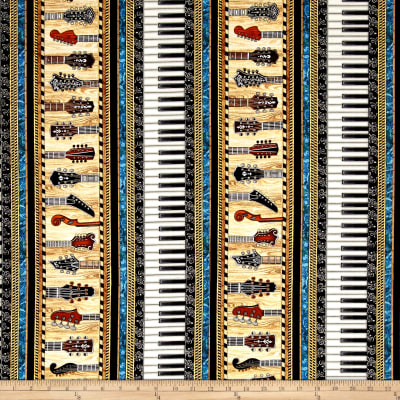 QT Fabrics Encore Instruments Piano Keys & Guitar Stripe Black