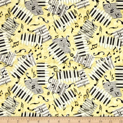 QT Fabrics Encore Piano Keys & Notes Light Butterscotch
