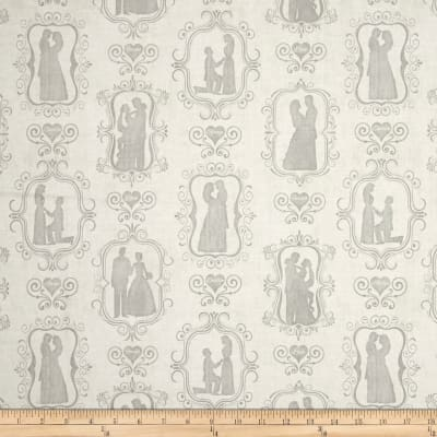 I Do Bride & Groom Silhouettes Cream