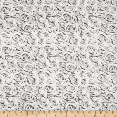 QT Fabrics I Do Roses Gray