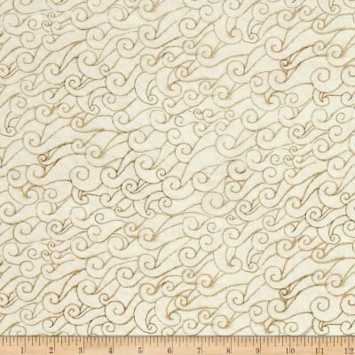 QT Fabrics She Sews Sea Shells Wave Swirls Ecru