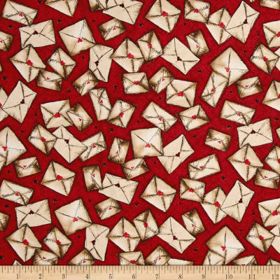 QT Fabrics Letters From The Heart Envelopes Cranberry