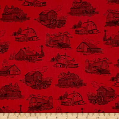 Homestead Barn Toile Red