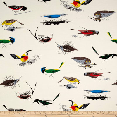Birch Organic Charley Harper Western Birds Interlock Knit Main Cream
