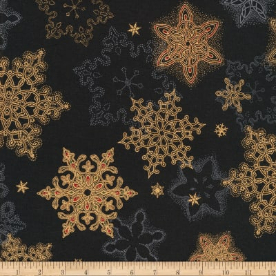 Kaufman Holiday Flourish Metallic Snowflakes Black