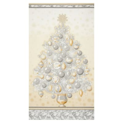 "Kaufman Winter Grandeur Metallic Tree 23.5"" Panel Champagne"