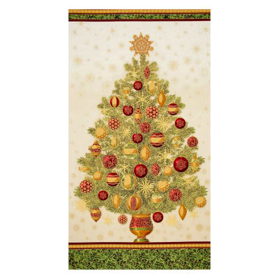 "Kaufman Winter Grandeur Metallic Tree 23.5"" Panel Holiday"
