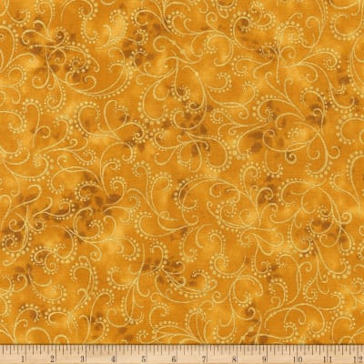 Kaufman Winter Grandeur Metallic Scroll Gold