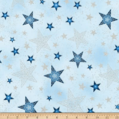 Kaufman Winter Grandeur Metallic Stars Frost