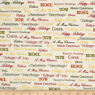 Kaufman Winter Grandeur Metallic Words Holiday