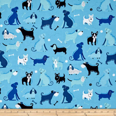 Kaufman Classy Canines Dogs and Bones Blue