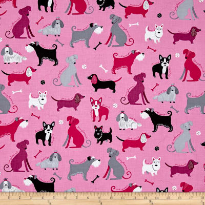 Kaufman Classy Canines Dogs and Bones Pink