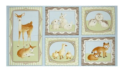 "Kaufman Fawns & Friends 23.5"" Panel Blue"