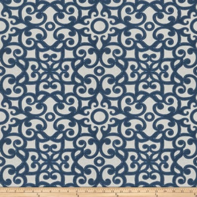 Fabricut Muffuletta Embroidered Flourish Nautical