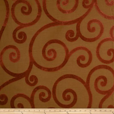 Jaclyn Smith 01845 Chenille Jacquard Scroll Tabasco