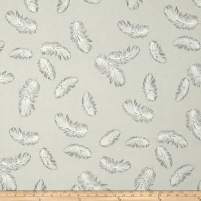 Kaufman Black & White Feathers Pearl