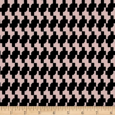 Pique Double Knit Black Houndstooth on Pink