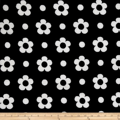Pique Double Knit White Spring Flower on Black