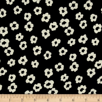 Europa Silky Polyester Satin Shirting Mini Abstract Ivory Flower on Black