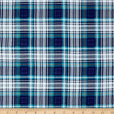 Fabric Merchants T-Shirt Jersey Knit Plaid Blue/White