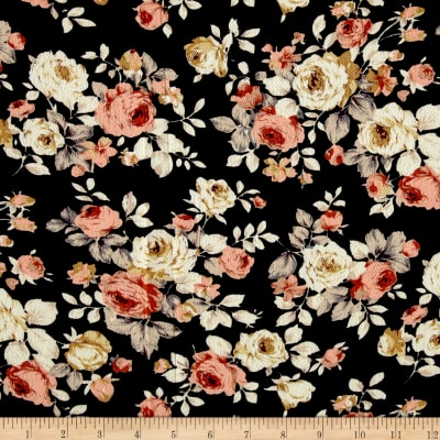 Bubble Crepe Woven Peach/Beige Large Rose Bouquet on Black